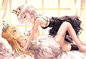 Rating: Safe Score: 97 Tags: 2girls aqua_eyes bed crown dress garter_belt kerno long_hair original shoujo_ai thighhighs User: BattlequeenYume
