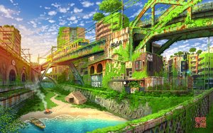Rating: Safe Score: 38 Tags: building city fire grass original ruins scenic sunset tokyogenso train water watermark User: FormX
