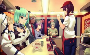 Rating: Safe Score: 24 Tags: animal_ears apron blonde_hair braids breasts cleavage collar cowgirl dark_skin drink dso elbow_gloves food gloves gray_hair green_eyes green_hair group male original paper purple_hair short_hair suit tie twintails User: FormX