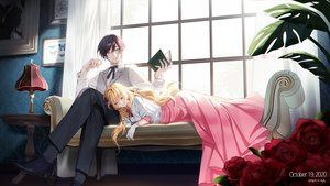 Rating: Safe Score: 32 Tags: blonde_hair book couch dress flowers gloves kiwi_(pixiv6429539) long_hair male original rose sleeping User: BattlequeenYume