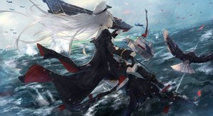 Rating: Safe Score: 34 Tags: aircraft aliasing animal anthropomorphism azur_lane bird bow_(weapon) enterprise_(azur_lane) hat long_hair rain tagme_(artist) thighhighs water weapon white_hair User: RyuZU