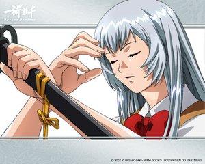 Rating: Safe Score: 21 Tags: blue_hair bow chouun_shiryuu ikkitousen long_hair school_uniform sword tagme watermark weapon User: Xtea