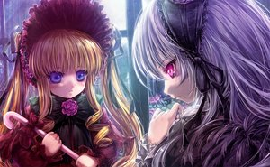 Rating: Safe Score: 39 Tags: 2girls blonde_hair blue_eyes close feathers flowers gray_hair headdress lolita_fashion misaki_(kyal_001) pink_eyes rose rozen_maiden shinku suigintou User: mattiasc02