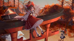 Rating: Safe Score: 60 Tags: 2girls autumn blonde_hair brown_eyes brown_hair hakurei_reimu heikokuru1224 japanese_clothes kirisame_marisa long_hair miko shrine torii touhou tree watermark witch User: Dreista