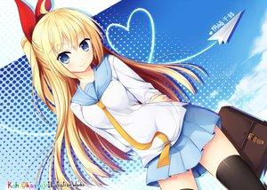 Rating: Safe Score: 82 Tags: blonde_hair blue_eyes blush bow kaho_okashii kirisaki_chitoge long_hair nisekoi seifuku skirt thighhighs User: RyuZU