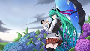 Rating: Safe Score: 59 Tags: amino_dopple clouds flowers hatsune_miku sky twintails umbrella vocaloid User: mikulover