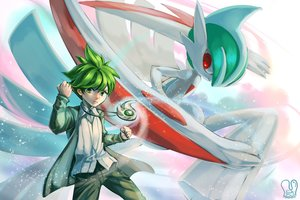 Rating: Safe Score: 43 Tags: all_male gallade green_eyes green_hair male mega_gallade mitsuru_(pokemon) necklace pokemon red_eyes sa-dui short_hair signed watermark User: mattiasc02