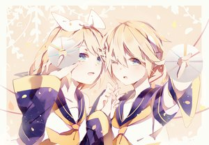 Rating: Safe Score: 60 Tags: blonde_hair blue_eyes bow kagamine_len kagamine_rin male pudding_(8008208820) school_uniform short_hair vocaloid wink User: FormX