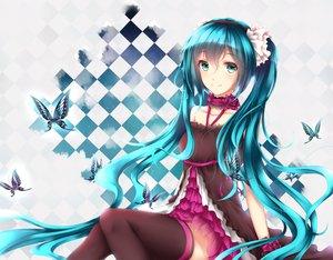 Rating: Safe Score: 74 Tags: 7th_dragon_2020 aqua_eyes butterfly choker hatsune_miku headband long_hair thighhighs twintails vocaloid wsman User: luckyluna