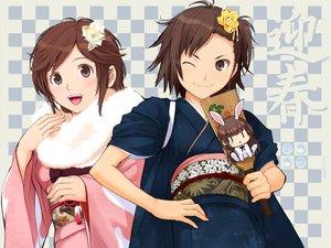 Rating: Safe Score: 56 Tags: amagami animal_ears brown_eyes brown_hair bunny_ears bunnygirl flowers itou_kanae japanese_clothes kimono sakurai_rihoko takayama_kisai User: meccrain