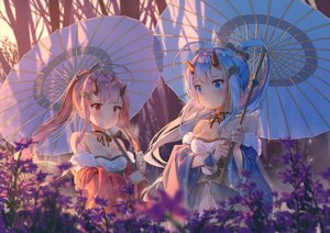 Rating: Safe Score: 93 Tags: 2girls anthropomorphism aqua_eyes azur_lane blue_hair blush bow breasts choker cleavage daitai_sotogawa_(futomomo) dress flowers horns ikazuchi_(azur_lane) inazuma_(azur_lane) long_hair pink_hair ponytail red_eyes ribbons tree umbrella User: BattlequeenYume