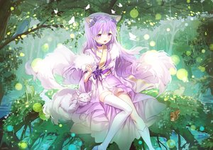 Rating: Safe Score: 56 Tags: animal animal_ears bird blush butterfly choker forest foxgirl japanese_clothes kimono kneehighs long_hair mullpull original purple_eyes purple_hair rabbit rain signed tail thighhighs tree water User: otaku_emmy