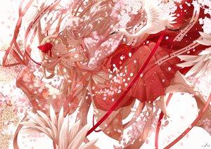 Rating: Safe Score: 108 Tags: 2girls animal barefoot bird blonde_hair cherry_blossoms flowers japanese_clothes long_hair miko nanahara_shie original petals pink_hair ribbons User: FormX