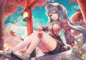 Rating: Safe Score: 126 Tags: aqua_hair autumn breasts camera cleavage clouds green_eyes hatsune_miku leaves ozzingo see_through shorts shrine sky thighhighs torii twintails vocaloid zettai_ryouiki User: RyuZU