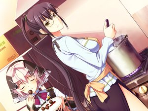 Rating: Safe Score: 34 Tags: 2girls amakura apron food game_cg glasses himuro_sae id_-rebirth_session- root_nuko saionji_kyouko User: korokun