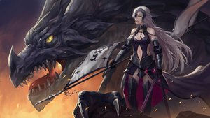 Rating: Safe Score: 181 Tags: armor blonde_hair boots breasts chain cleavage dragon elbow_gloves fate/grand_order fate_(series) fire gloves jeanne_d'arc_alter jeanne_d'arc_(fate) long_hair navel shengxie spear sword thighhighs weapon yellow_eyes User: otaku_emmy
