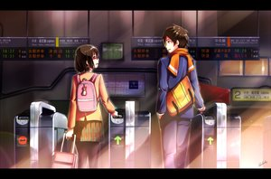 Rating: Safe Score: 33 Tags: akizuki_rito brown_eyes brown_hair glasses male miho_(cross_road) scarf school_uniform short_hair shouta skirt train z-kai:_cross_road User: RyuZU