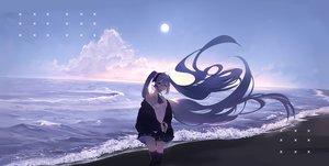 Rating: Safe Score: 79 Tags: hatsune_miku hoshiineko long_hair thighhighs twintails vocaloid User: Dreista