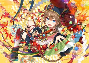 Rating: Safe Score: 31 Tags: autumn blue_eyes braids brown_hair fan fang headdress japanese_clothes kuronohana leaves long_hair original ribbons thighhighs umbrella User: otaku_emmy