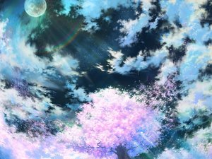 Rating: Safe Score: 104 Tags: cherry_blossoms moon night original rainbow scenic sky tagme User: Oyashiro-sama
