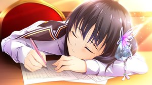 Rating: Safe Score: 30 Tags: black_hair close ensemble_(company) game_cg hiiragi_erika ojou-sama_wa_sunao_ni_narenai paper sleeping tagme_(artist) User: FormX