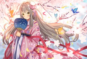 Rating: Safe Score: 31 Tags: ame_sagari blush brown_hair butterfly cherry_blossoms fan flowers japanese_clothes kimono long_hair original petals ribbons tree yellow_eyes User: otaku_emmy