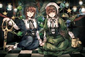 Rating: Safe Score: 66 Tags: 2girls bicolored_eyes brown_hair dress flowers hat long_hair rose rozen_maiden sakuyu short_hair souseiseki suiseiseki twins User: C4R10Z123GT