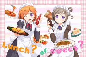 Rating: Safe Score: 24 Tags: 2girls apron blush brown_hair cake dress food fruit gamyuu_(gamyu) headdress maid orange_hair original pizza purple_eyes short_hair strawberry wink User: RyuZU