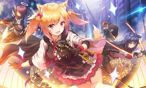 Rating: Safe Score: 86 Tags: arknights black_hair blonde_hair brown_hair building cape catgirl croissant_(arknights) dress exusiai_(arknights) fang gloves group gun halo long_hair microphone music pantyhose ponytail purple_hair short_hair skirt sora_(arknights) tail texas_(arknights) thighhighs tie toki_(toki_ship8) twintails weapon wings yellow_eyes User: BattlequeenYume