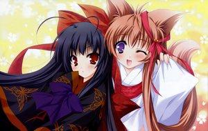 Rating: Safe Score: 32 Tags: animal_ears foxgirl japanese_clothes kimono mito_mashiro moekibara_fumitake nue tayutama User: korokun