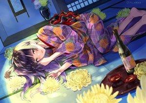 Rating: Safe Score: 39 Tags: barefoot black_hair blush drink flowers green_eyes japanese_clothes kimono long_hair miyabi_akino original sake signed User: BattlequeenYume