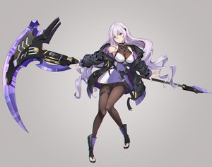 Rating: Safe Score: 86 Tags: breasts dance_of_eternity dress long_hair original pantyhose purple_hair scythe weapon yellow_eyes User: Dreista