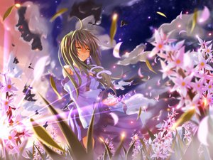 Rating: Safe Score: 38 Tags: clouds flowers green_hair japanese_clothes kochiya_sanae long_hair miko petals sky stars touhou yellow_eyes User: HawthorneKitty