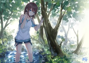 Rating: Safe Score: 97 Tags: blue_eyes brown_hair forest jpeg_artifacts miko_fly original shade short_hair shorts signed tree water User: gnarf1975
