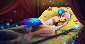 Rating: Safe Score: 124 Tags: armor barefoot bed blue_eyes flowers gray_hair gwendolyn headdress magic odin_sphere petals rose spear sunimu tiara weapon User: gnarf1975