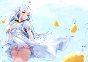 Rating: Safe Score: 82 Tags: blue_hair blush bubbles dress food fruit long_hair na_kyo original scan school_uniform summer_dress underwater water yellow_eyes User: BattlequeenYume