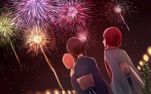 Rating: Safe Score: 69 Tags: 2girls akizuki_maria blue_eyes brown_hair fireworks japanese_clothes jiman kimono red_hair shin_sekai_yori watanabe_saki yukata User: ANIMEHTF