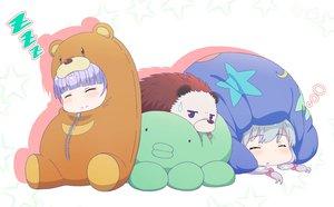 Rating: Safe Score: 45 Tags: 2girls animal chibi crossover eromanga-sensei gray_hair izumi_sagiri new_game! pink_x purple_hair sleeping suzukaze_aoba twintails User: otaku_emmy