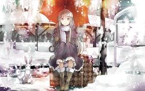 Rating: Safe Score: 126 Tags: animal gloves kasugano_sora rabbit scarf snow umbrella yosuga_no_sora yuugen User: Wiresetc