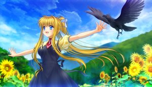 Rating: Safe Score: 36 Tags: air animal bird blonde_hair blue_eyes bow clouds flowers grass kamio_misuzu landscape long_hair moonknives ponytail scenic seifuku sky sunflower User: gnarf1975