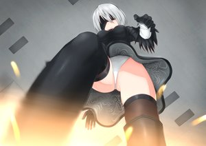 Rating: Safe Score: 70 Tags: blindfold boots gloves gray_hair headband leotard nier nier:_automata nm_(tshell2761) short_hair thighhighs upskirt yorha_unit_no._2_type_b User: FormX