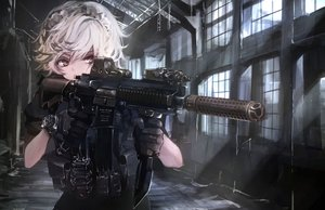Rating: Safe Score: 104 Tags: close gun headdress izayoi_sakuya koh_(minagi_kou) military red_eyes short_hair touhou weapon white_hair wristwear User: luckyluna