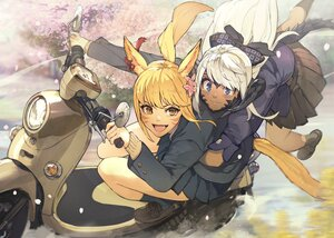 Rating: Safe Score: 35 Tags: 2girls animal_ears au_ra blonde_hair blue_eyes brown_eyes catgirl dark_skin fang final_fantasy final_fantasy_xiv gray_hair hide_(hideout) horns miqo'te motorcycle school_uniform skirt tail User: SciFi