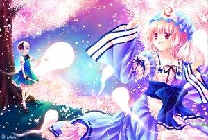 Rating: Safe Score: 16 Tags: 2girls blue_eyes cherry_blossoms flowers japanese_clothes katana kimono konpaku_youmu lilith_(artist) myon petals pink_eyes pink_hair red_eyes ribbons saigyouji_yuyuko short_hair skirt sword touhou weapon User: Tensa