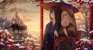 Rating: Safe Score: 54 Tags: japanese_clothes leaves long_hair original snow umbrella xing_muhen User: Dreista