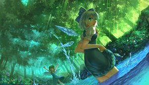 Rating: Safe Score: 60 Tags: 2girls animal blue_eyes blue_hair bow cirno daiyousei dress fish flowers forest green_hair madcocoon short_hair touhou tree water wings User: Flandre93