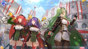 Rating: Safe Score: 25 Tags: animal anthropomorphism azur_lane bibimbub blue_hair breasts cape cleavage gloves green_hair hat horse littorio_(azur_lane) logo long_hair manjuu_(azur_lane) orange_eyes pantyhose petals pola_(azur_lane) red_eyes red_hair sword thighhighs twintails weapon zara_(azur_lane) User: Nepcoheart