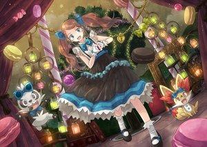 Rating: Safe Score: 84 Tags: blue_eyes bow brown_hair candy dress fennekin food gloves long_hair pancham pokemon serena_(pokemon) socks tree twintails yakka User: Maboroshi