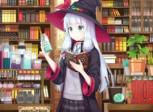 Rating: Safe Score: 107 Tags: blush book flowers gray_hair green_eyes hat kaie long_hair original skirt witch witch_hat User: RyuZU