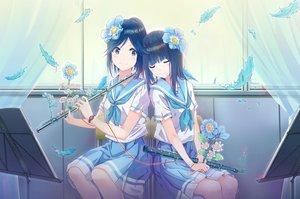 Rating: Safe Score: 73 Tags: 2girls animal flowers hibike!_euphonium instrument jadeqilin kasaki_nozomi liz_to_aoi_tori seifuku yoroizuka_mizore User: BattlequeenYume